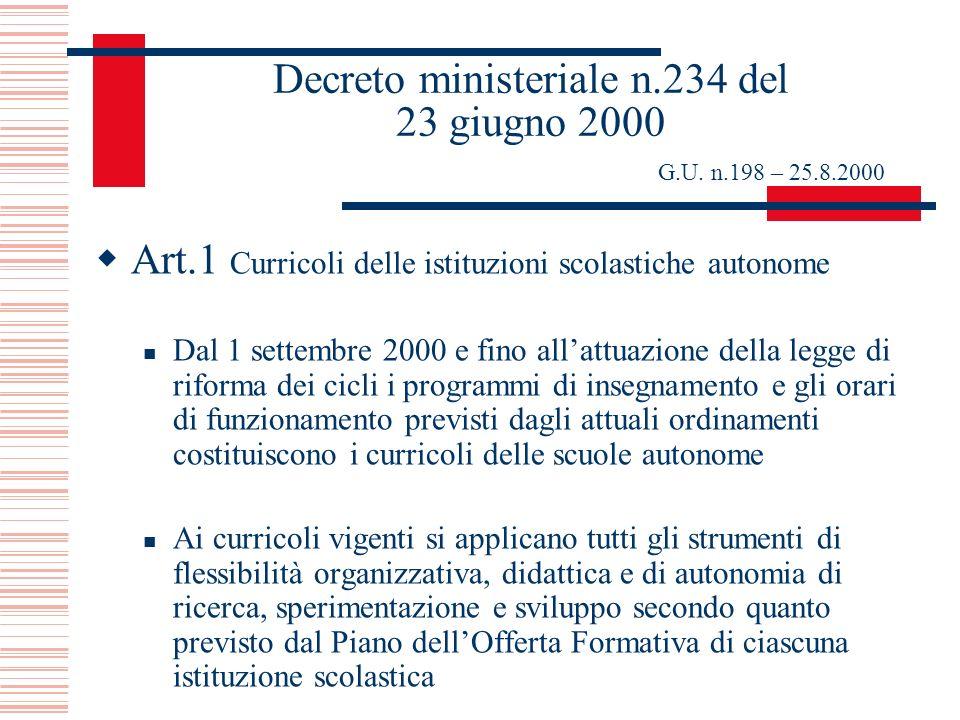 Decreto ministeriale n.234 del 23 giugno 2000 G.U. n.198 – 25.8.2000 Art.1 Curricoli delle istituzioni scolastiche autonome Dal 1 settembre 2000 e fin