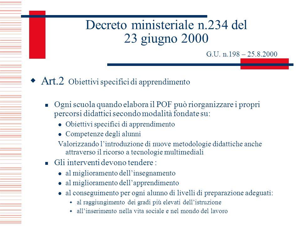 Decreto ministeriale n.234 del 23 giugno 2000 G.U. n.198 – 25.8.2000 Art.2 Obiettivi specifici di apprendimento Ogni scuola quando elabora il POF può