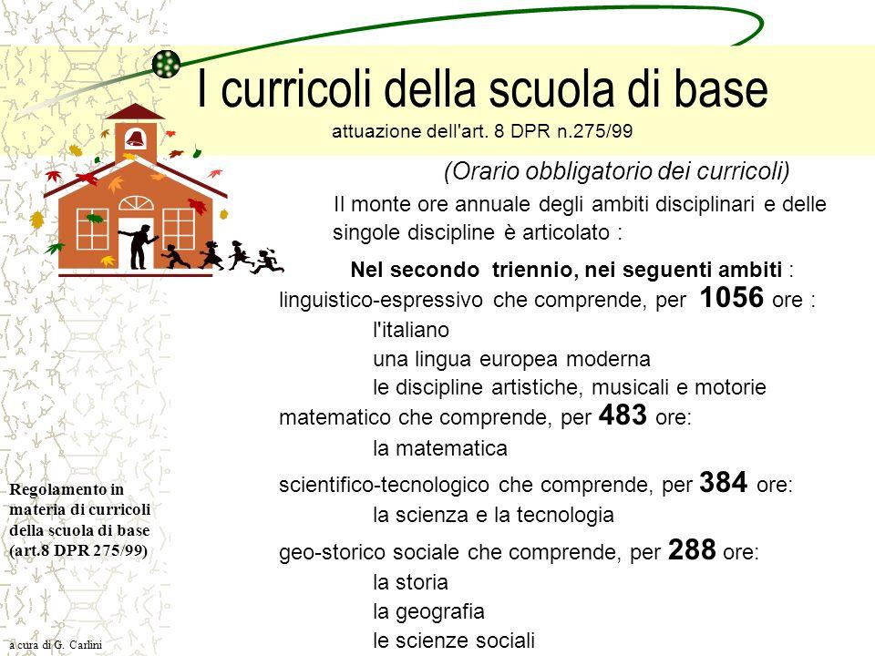 I curricoli della scuola di base attuazione dell'art. 8 DPR n.275/99 (Orario obbligatorio dei curricoli) Il monte ore annuale degli ambiti disciplinar