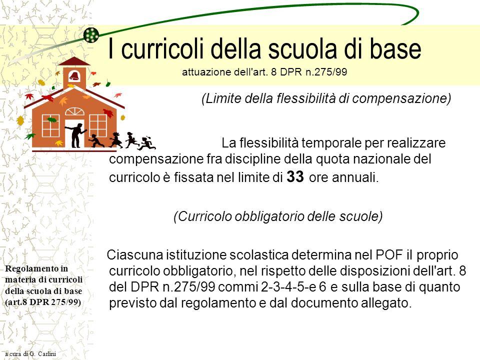 I curricoli della scuola di base attuazione dell'art. 8 DPR n.275/99 (Limite della flessibilità di compensazione) La flessibilità temporale per realiz