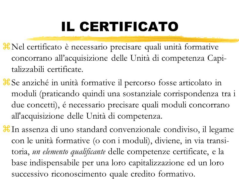 IL CERTIFICATO zNel certificato è necessario precisare quali unità formative concorrano allacquisizione delle Unità di competenza Capi- talizzabili ce