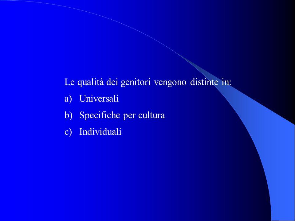 Le qualità dei genitori vengono distinte in: a)Universali b)Specifiche per cultura c)Individuali