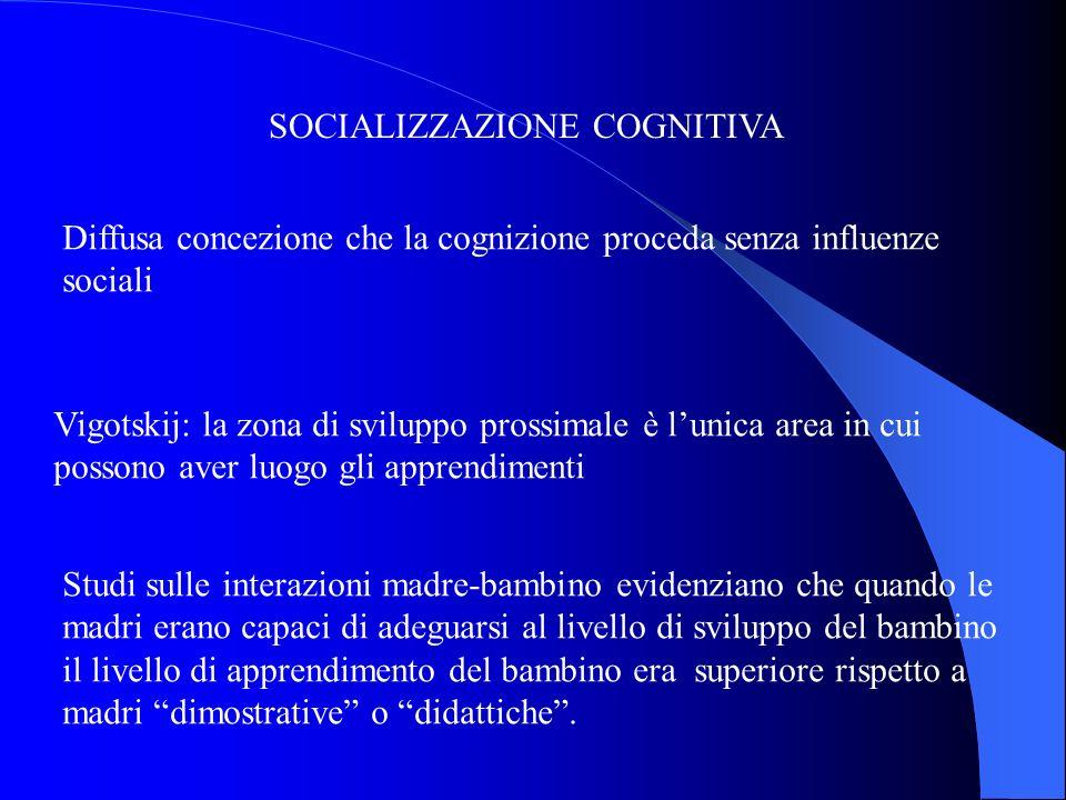 SOCIALIZZAZIONE COGNITIVA Diffusa concezione che la cognizione proceda senza influenze sociali Vigotskij: la zona di sviluppo prossimale è lunica area