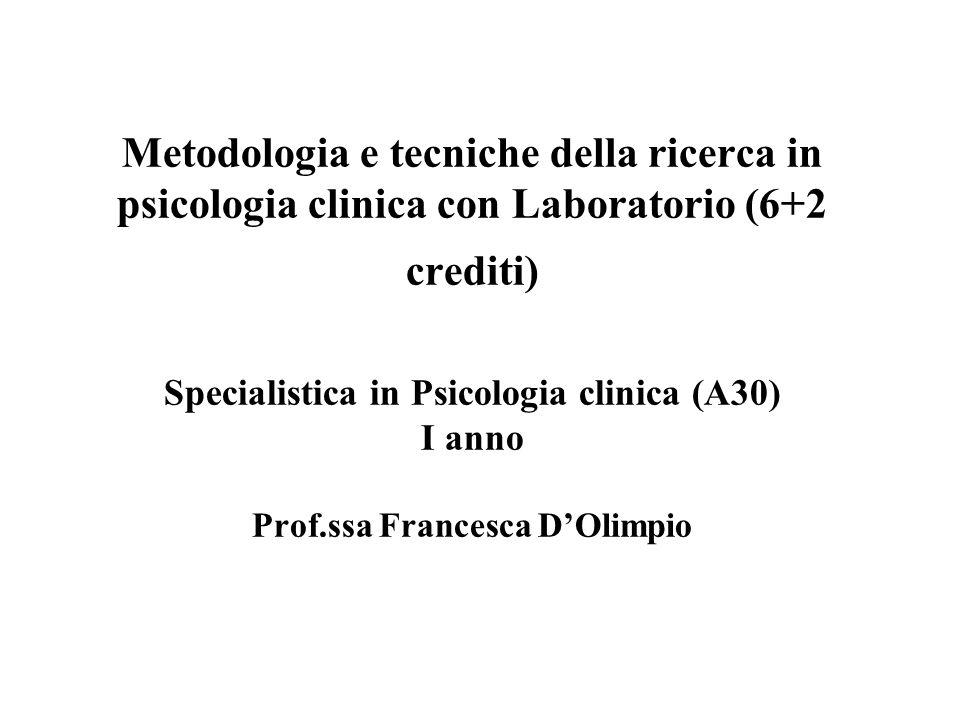 Metodologia e tecniche della ricerca in psicologia clinica con Laboratorio (6+2 crediti) Specialistica in Psicologia clinica (A30) I anno Prof.ssa Fra