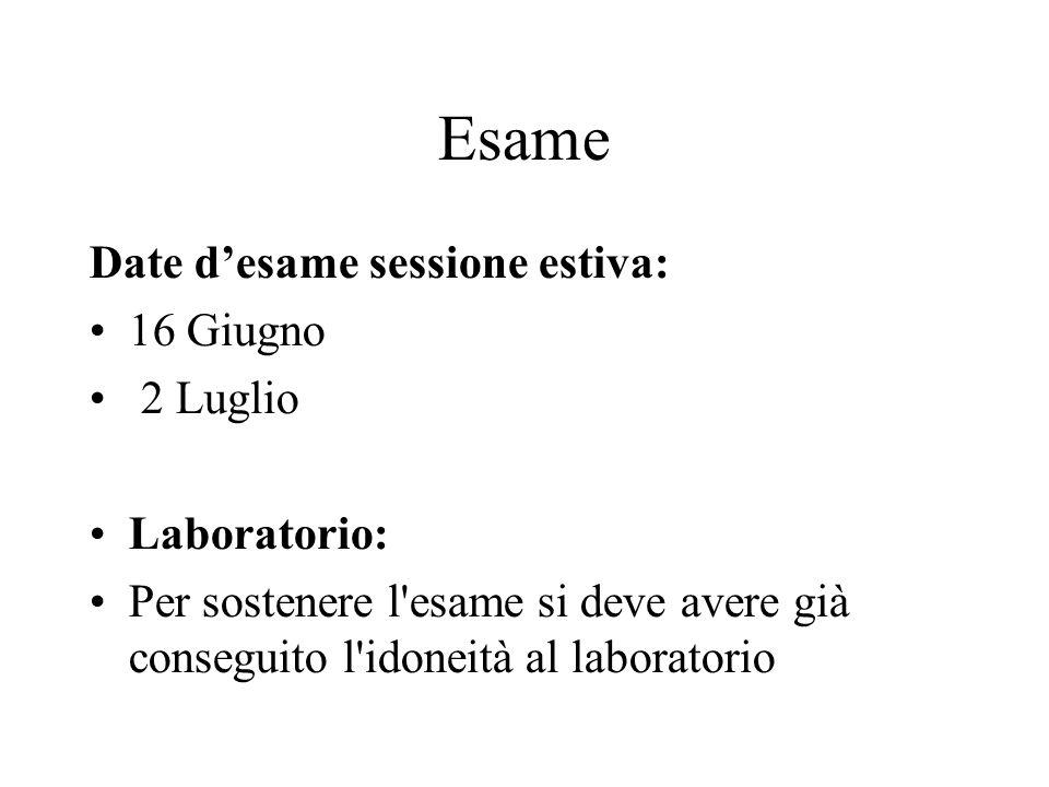 Esame Date desame sessione estiva: 16 Giugno 2 Luglio Laboratorio: Per sostenere l'esame si deve avere già conseguito l'idoneità al laboratorio