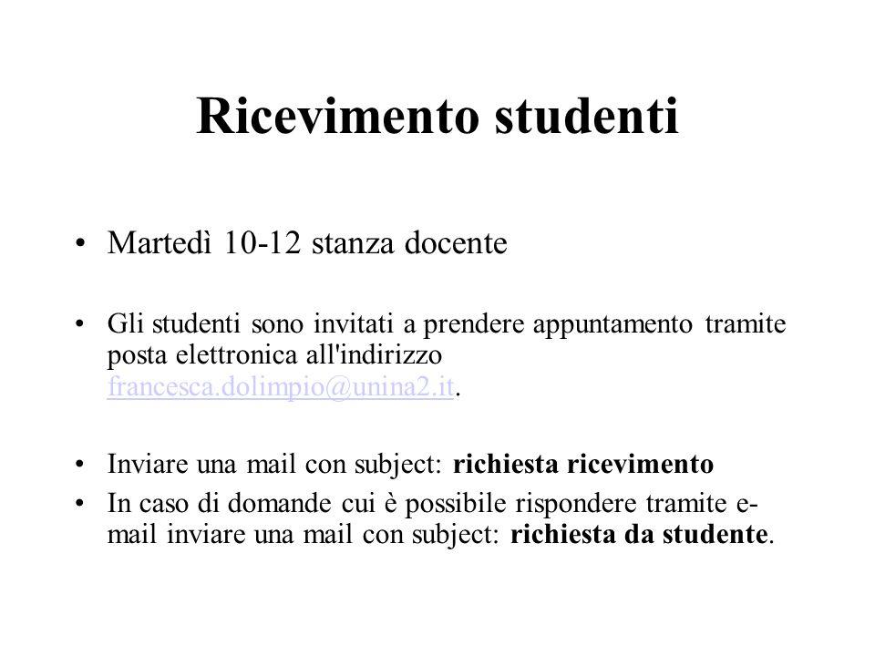 Ricevimento studenti Martedì 10-12 stanza docente Gli studenti sono invitati a prendere appuntamento tramite posta elettronica all'indirizzo francesca