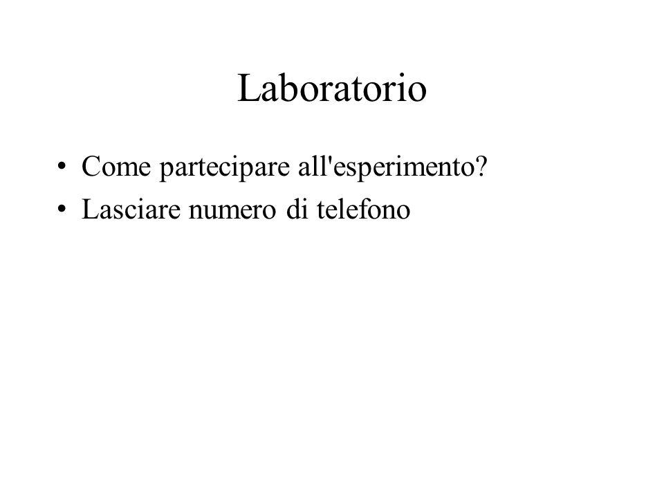 Laboratorio Come partecipare all'esperimento? Lasciare numero di telefono