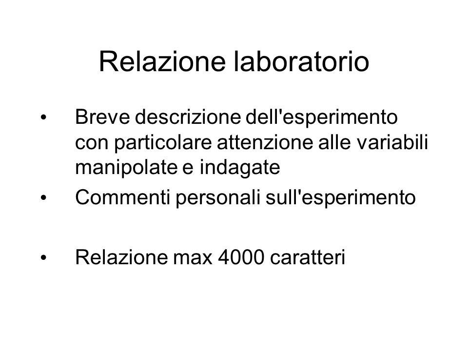 Relazione laboratorio Breve descrizione dell'esperimento con particolare attenzione alle variabili manipolate e indagate Commenti personali sull'esper