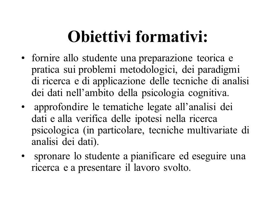 Obiettivi formativi: fornire allo studente una preparazione teorica e pratica sui problemi metodologici, dei paradigmi di ricerca e di applicazione de