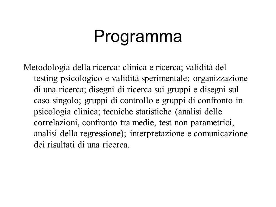 Programma Metodologia della ricerca: clinica e ricerca; validità del testing psicologico e validità sperimentale; organizzazione di una ricerca; diseg