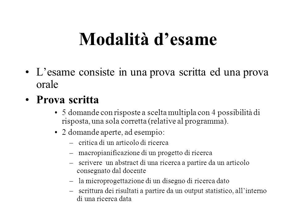 Modalità desame Lesame consiste in una prova scritta ed una prova orale Prova scritta 5 domande con risposte a scelta multipla con 4 possibilità di ri