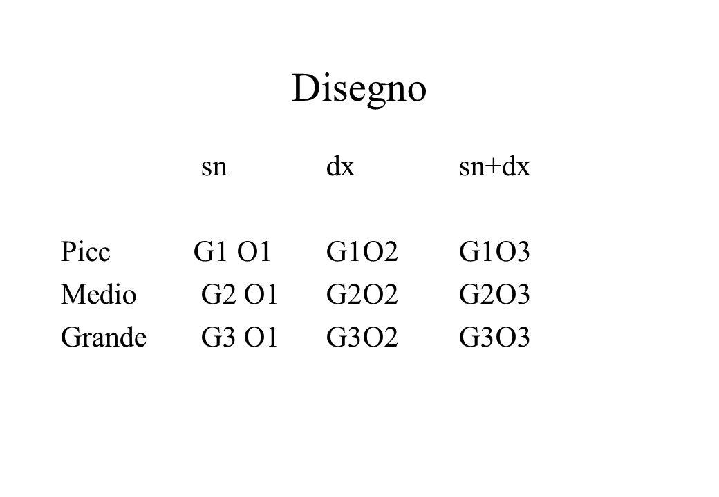 Disegno sndxsn+dx PiccG1 O1G1O2G1O3 Medio G2 O1G2O2G2O3 Grande G3 O1G3O2G3O3