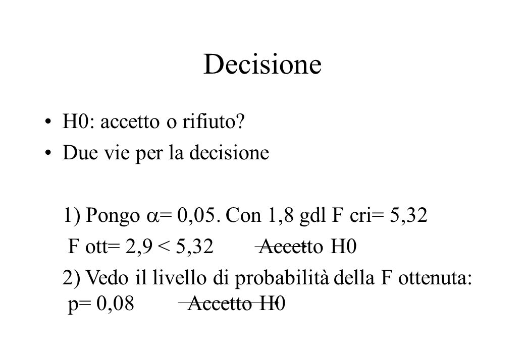 Decisione H0: accetto o rifiuto.Due vie per la decisione 1) Pongo = 0,05.