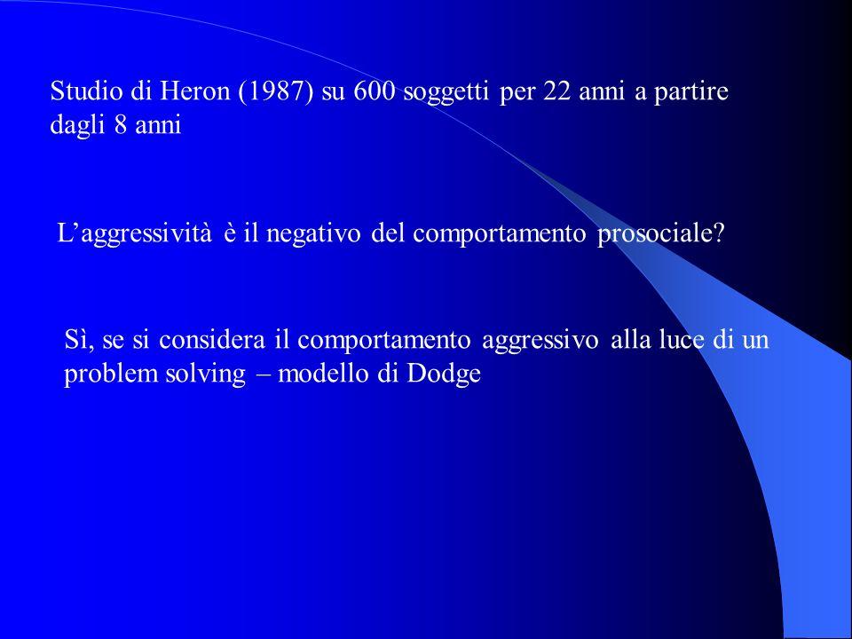 Studio di Heron (1987) su 600 soggetti per 22 anni a partire dagli 8 anni Laggressività è il negativo del comportamento prosociale? Sì, se si consider