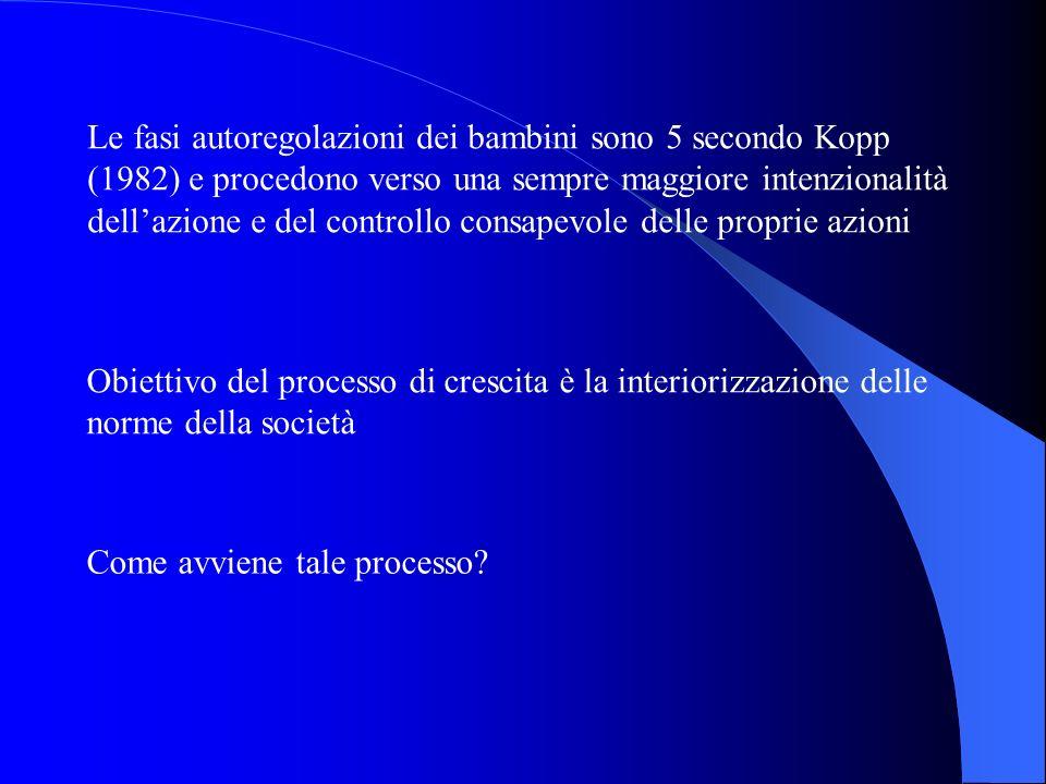 Le fasi autoregolazioni dei bambini sono 5 secondo Kopp (1982) e procedono verso una sempre maggiore intenzionalità dellazione e del controllo consape