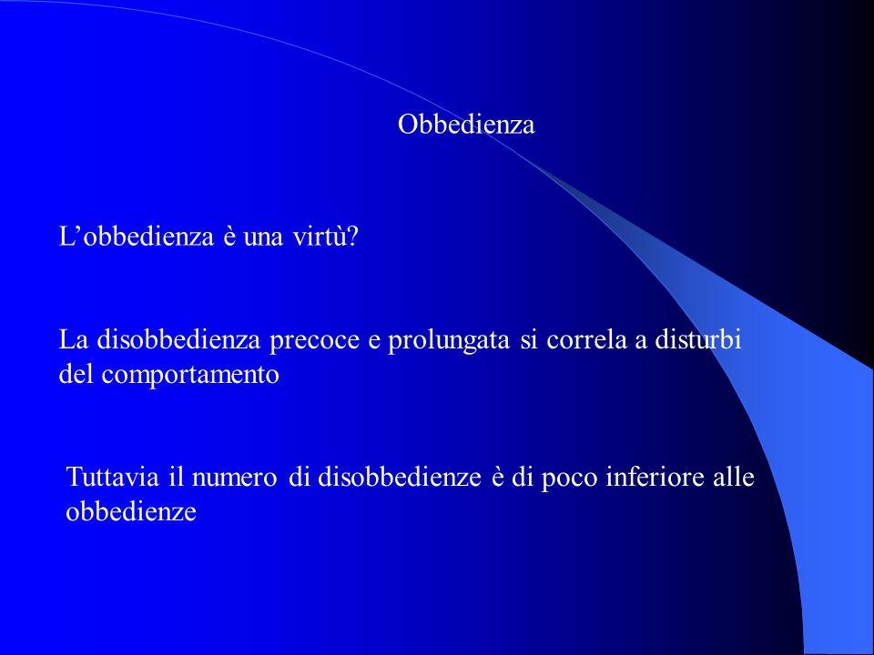 Obbedienza Lobbedienza è una virtù? La disobbedienza precoce e prolungata si correla a disturbi del comportamento Tuttavia il numero di disobbedienze