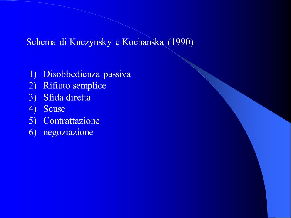 Schema di Kuczynsky e Kochanska (1990) 1)Disobbedienza passiva 2)Rifiuto semplice 3)Sfida diretta 4)Scuse 5)Contrattazione 6)negoziazione