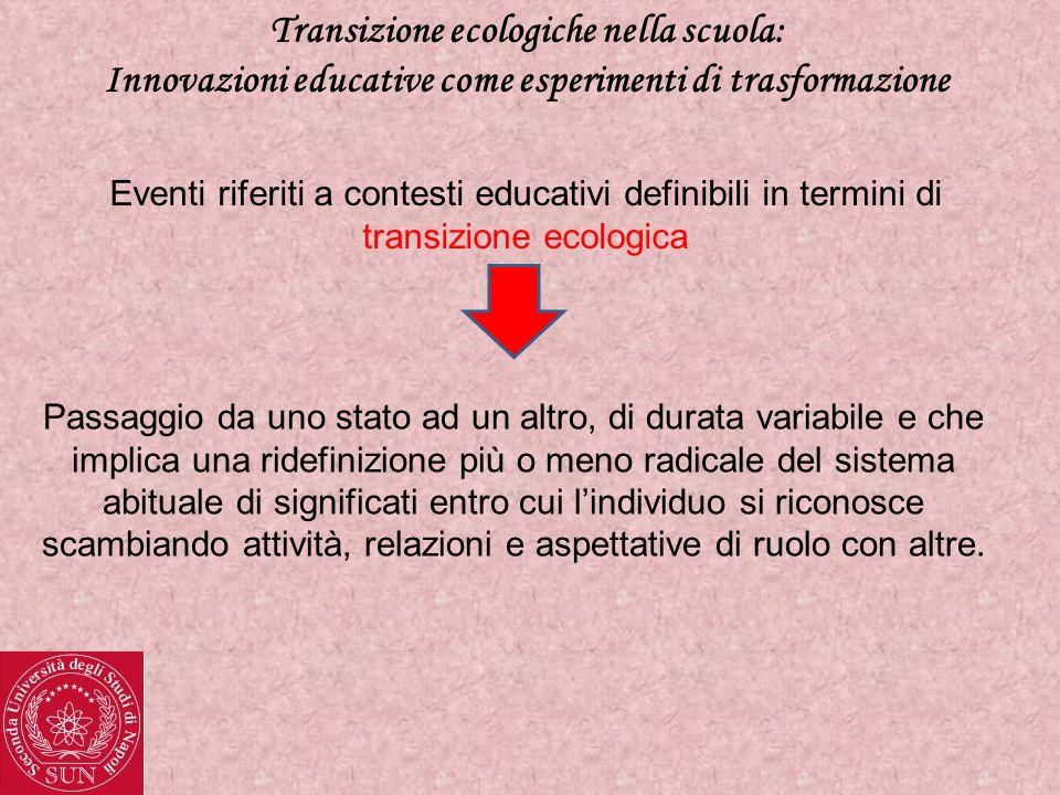 Transizione ecologiche nella scuola: Innovazioni educative come esperimenti di trasformazione Eventi riferiti a contesti educativi definibili in termi