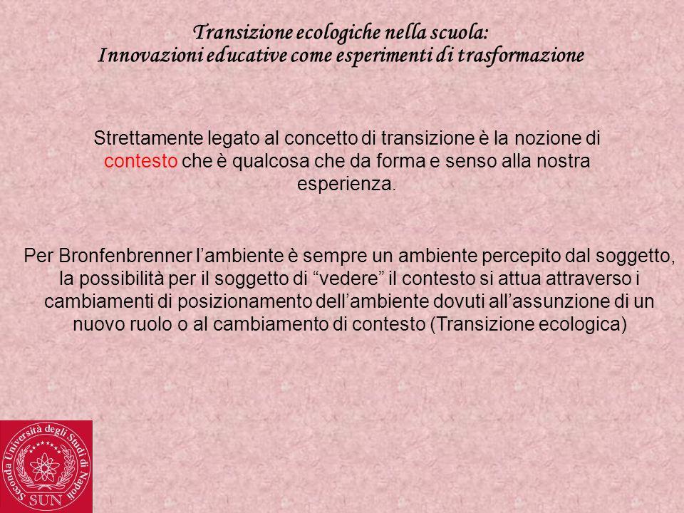 Transizione ecologiche nella scuola: Innovazioni educative come esperimenti di trasformazione La transizione ecologica è definita come un cambiamento di ruolo e/o ambiente che può attuarsi su 4 livelli : 1)Microsistema (Rapporti con una stretta cerchia di persone) 2)Mesosistema (Rapporti tra microsistemi di cui lindividuo è fisicamente parte) 3)Esosistema (Contesti dinfluenza di cui lindividuo non fa parte) 4)Macrosistema (Storia, cultura, leggi che permeano anche tutti gli altri livelli)