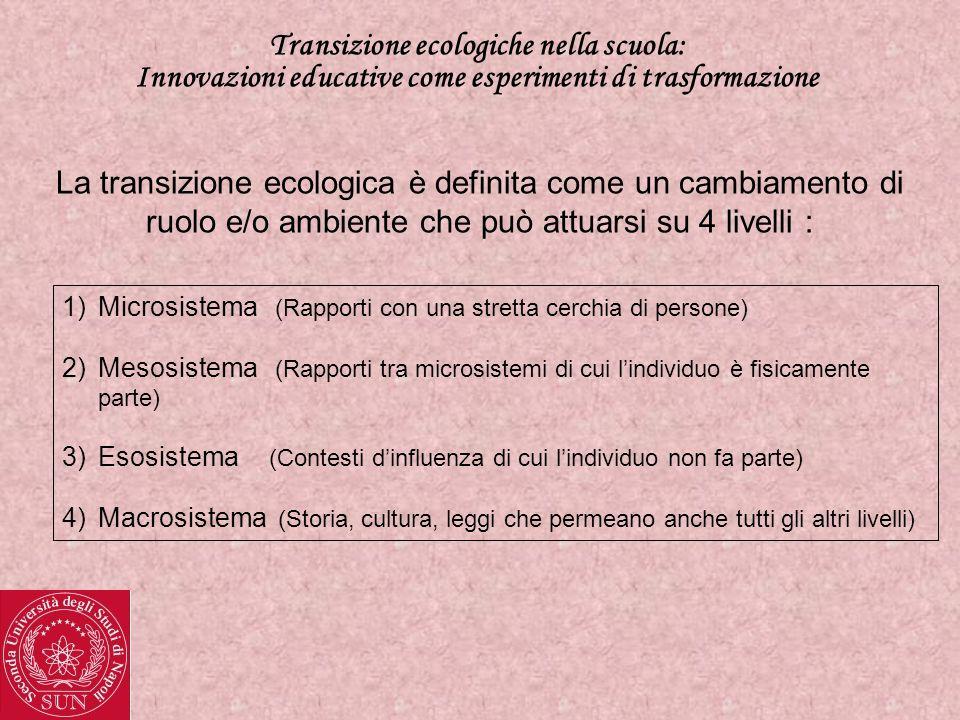 Transizione ecologiche nella scuola: Innovazioni educative come esperimenti di trasformazione La transizione ecologica è definita come un cambiamento