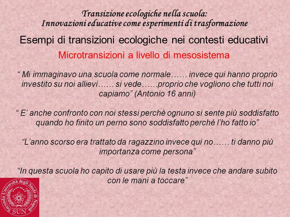 Transizione ecologiche nella scuola: Innovazioni educative come esperimenti di trasformazione Esempi di transizioni ecologiche nei contesti educativi Transizioni ecologiche a livello di macrosistema Progetti di scambio culturale tra scuole a livello internazionale.