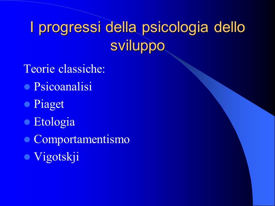 I progressi della psicologia dello sviluppo Teorie classiche: Psicoanalisi Piaget Etologia Comportamentismo Vigotskji