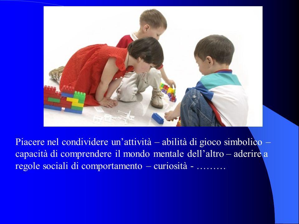 Piacere nel condividere unattività – abilità di gioco simbolico – capacità di comprendere il mondo mentale dellaltro – aderire a regole sociali di comportamento – curiosità - ………