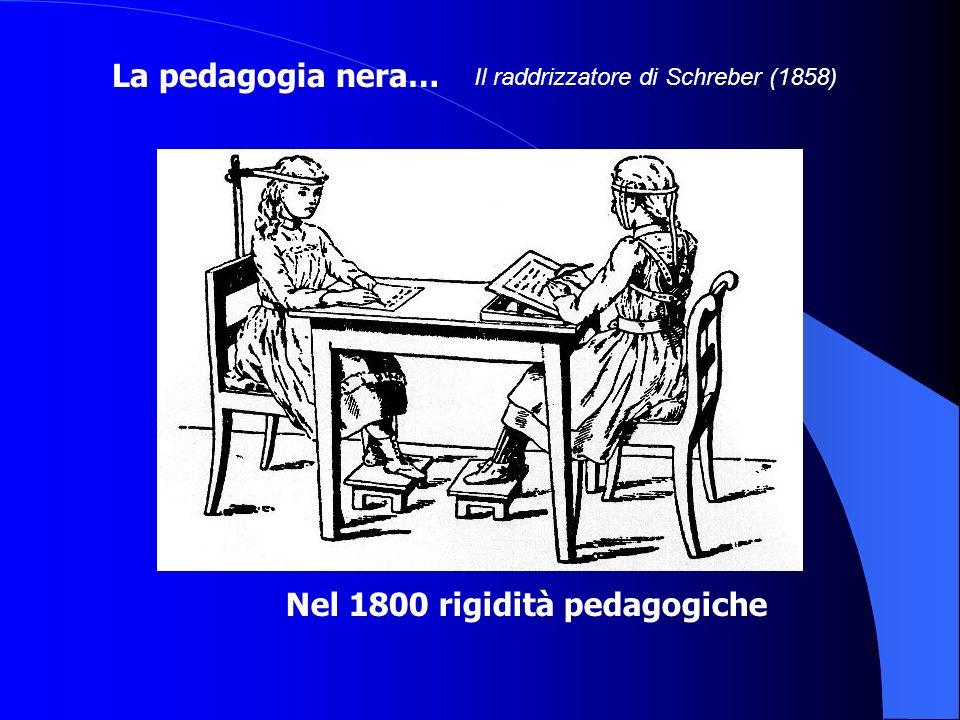Nel 1800 rigidità pedagogiche Il raddrizzatore di Schreber (1858) La pedagogia nera…
