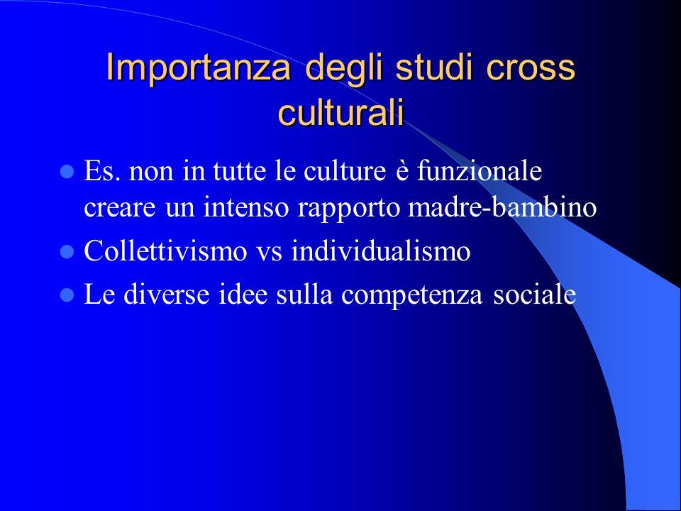 Importanza degli studi cross culturali Es.