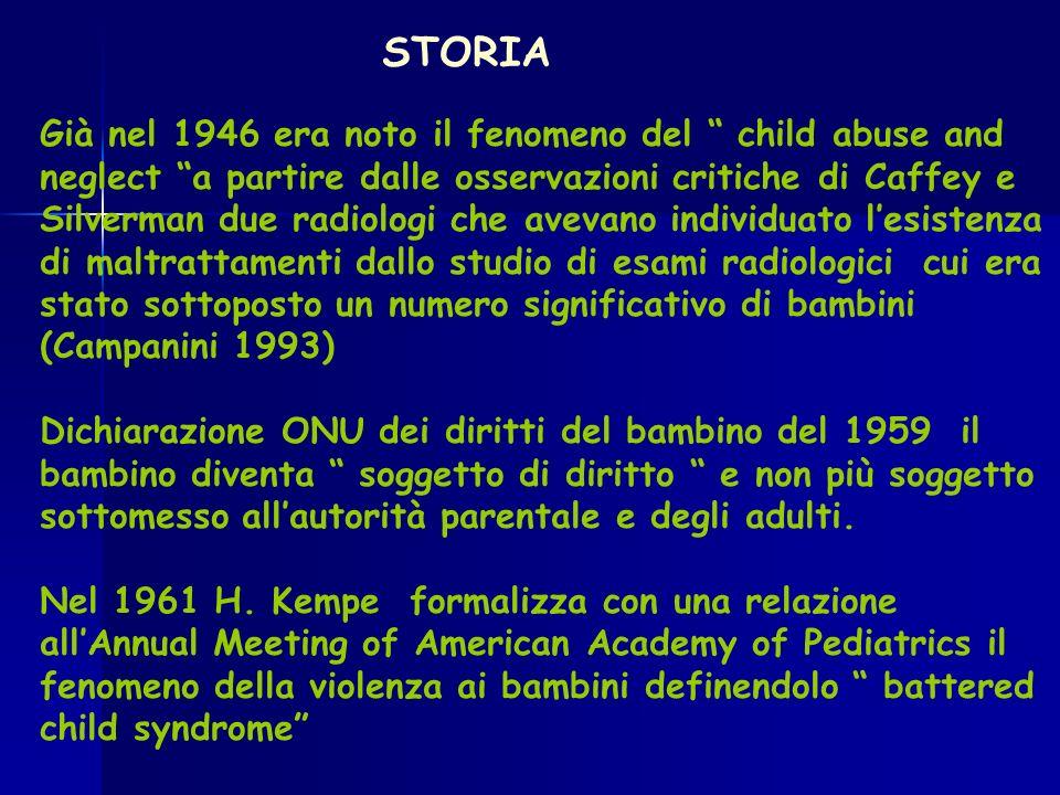 STORIA Già nel 1946 era noto il fenomeno del child abuse and neglect a partire dalle osservazioni critiche di Caffey e Silverman due radiologi che ave