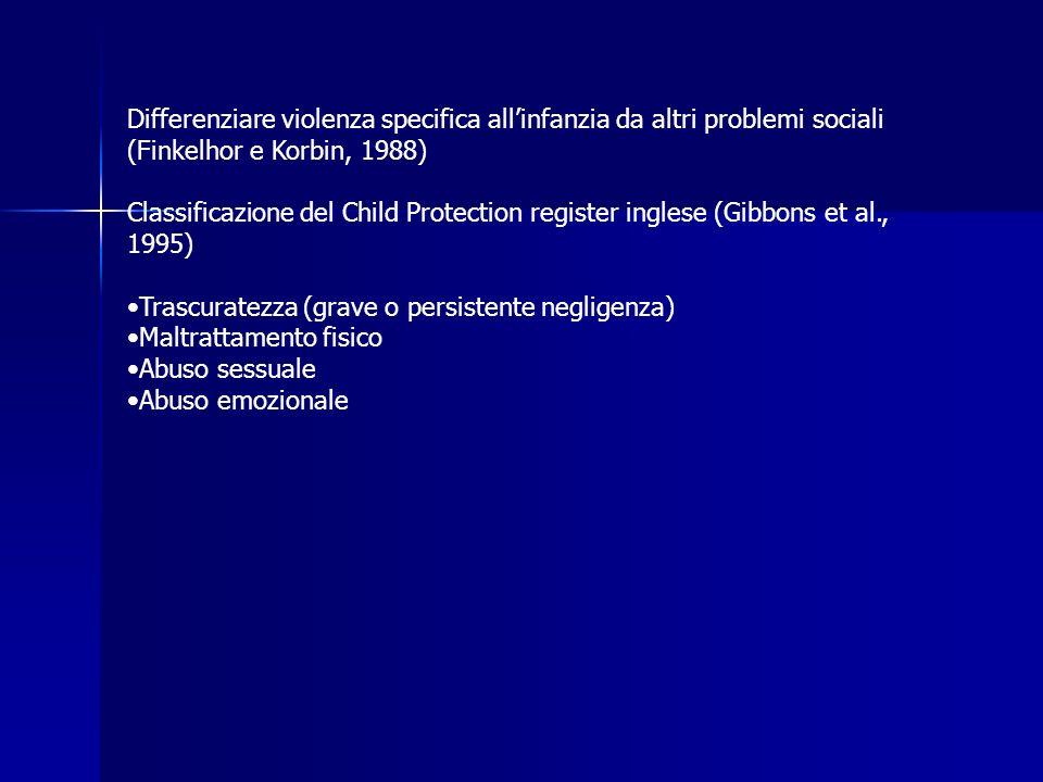 Differenziare violenza specifica allinfanzia da altri problemi sociali (Finkelhor e Korbin, 1988) Classificazione del Child Protection register ingles