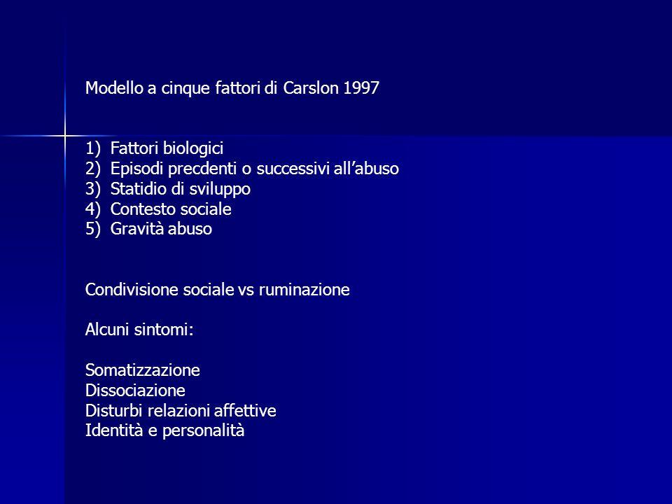 Modello a cinque fattori di Carslon 1997 1)Fattori biologici 2)Episodi precdenti o successivi allabuso 3)Statidio di sviluppo 4)Contesto sociale 5)Gra