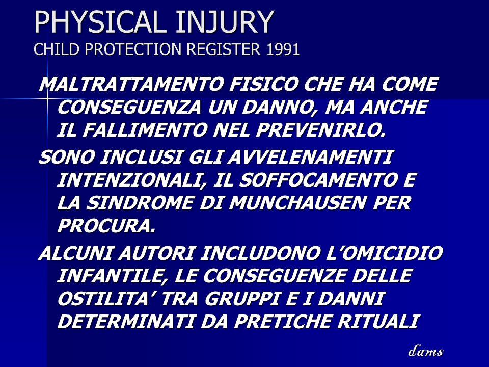 PHYSICAL INJURY CHILD PROTECTION REGISTER 1991 MALTRATTAMENTO FISICO CHE HA COME CONSEGUENZA UN DANNO, MA ANCHE IL FALLIMENTO NEL PREVENIRLO. SONO INC