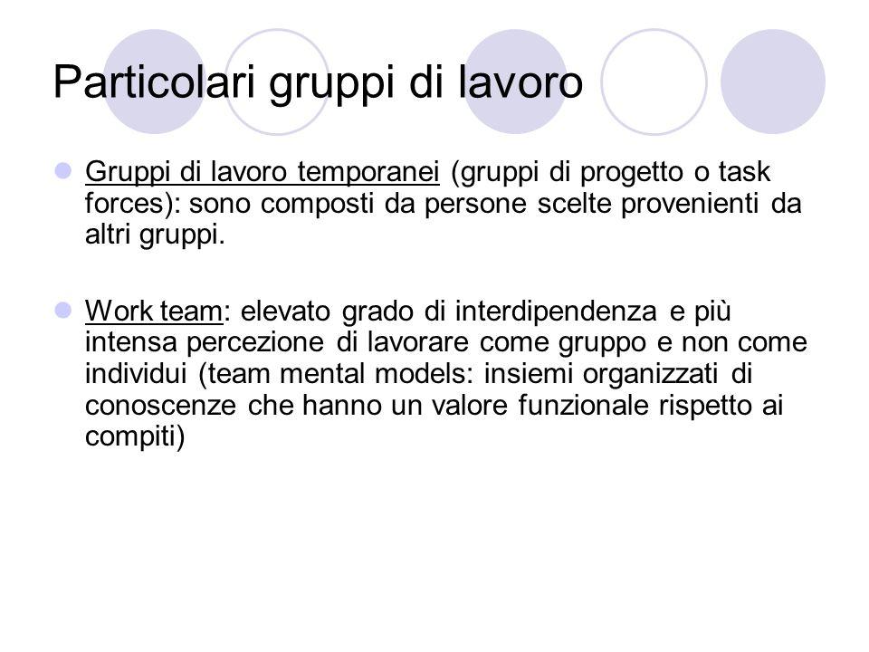 Particolari gruppi di lavoro Gruppi di lavoro temporanei (gruppi di progetto o task forces): sono composti da persone scelte provenienti da altri gruppi.