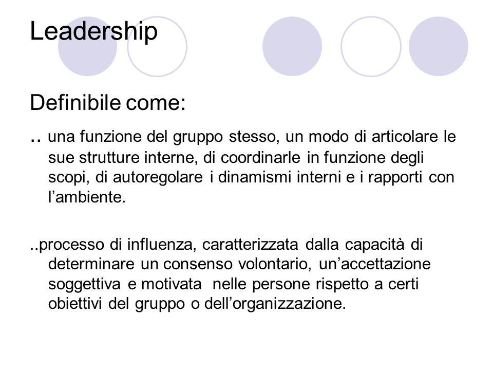 Leadership Definibile come:..