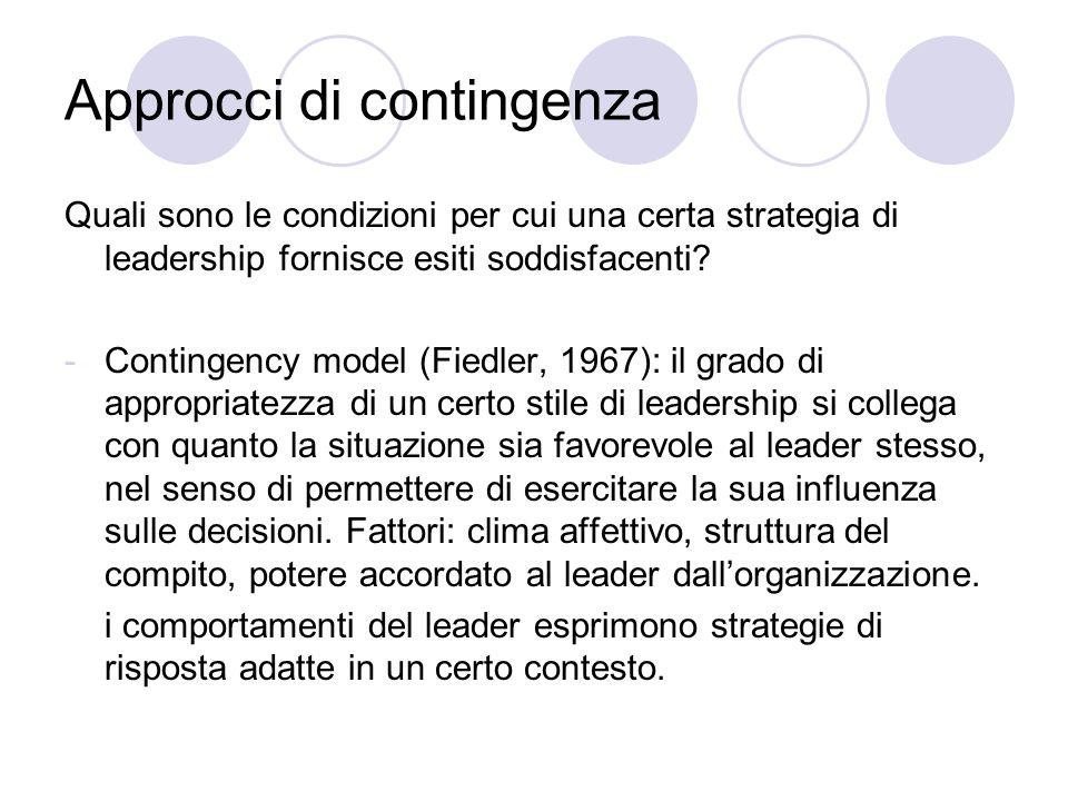 Approcci di contingenza Quali sono le condizioni per cui una certa strategia di leadership fornisce esiti soddisfacenti.