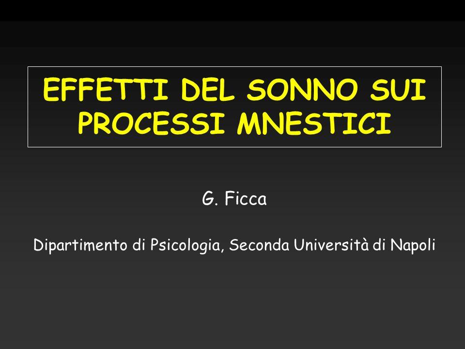EFFETTI DEL SONNO SUI PROCESSI MNESTICI G. Ficca Dipartimento di Psicologia, Seconda Università di Napoli