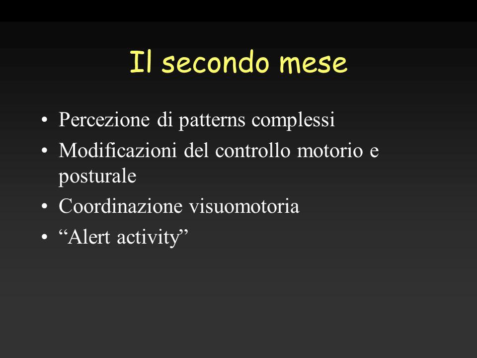 Il secondo mese Percezione di patterns complessi Modificazioni del controllo motorio e posturale Coordinazione visuomotoria Alert activity