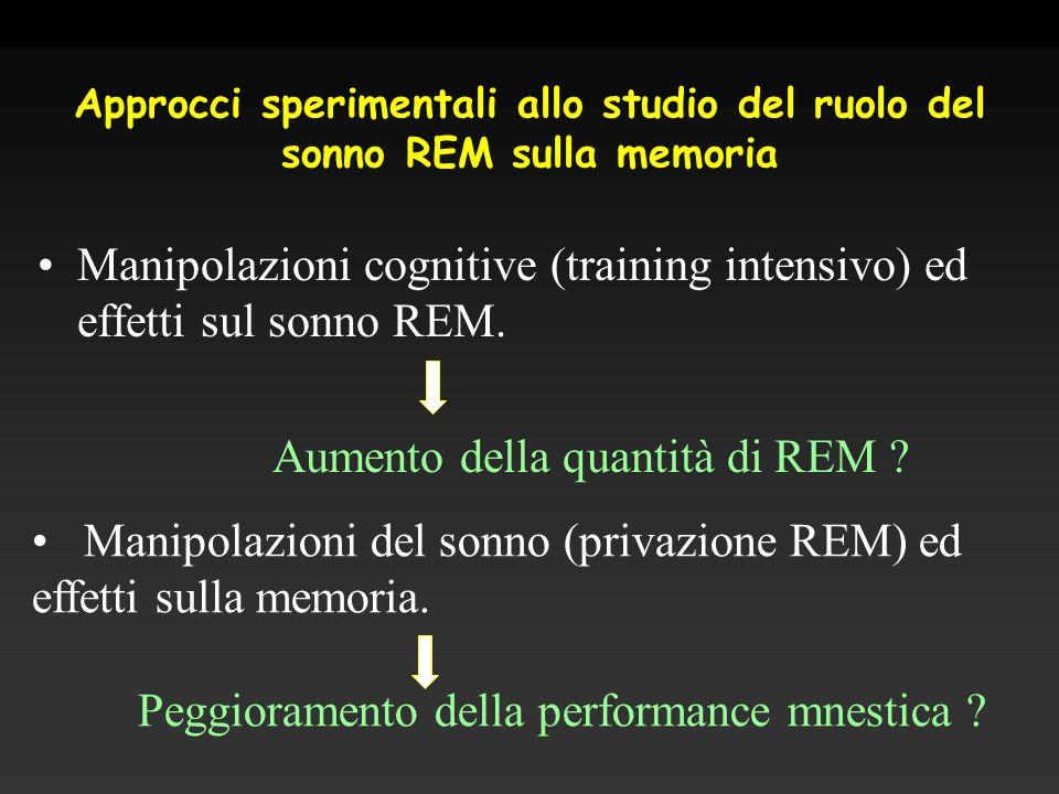 Approcci sperimentali allo studio del ruolo del sonno REM sulla memoria Manipolazioni cognitive (training intensivo) ed effetti sul sonno REM. Aumento