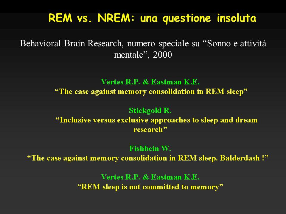REM vs. NREM: una questione insoluta Behavioral Brain Research, numero speciale su Sonno e attività mentale, 2000