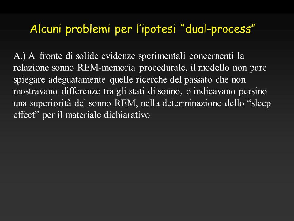 A.) A fronte di solide evidenze sperimentali concernenti la relazione sonno REM-memoria procedurale, il modello non pare spiegare adeguatamente quelle