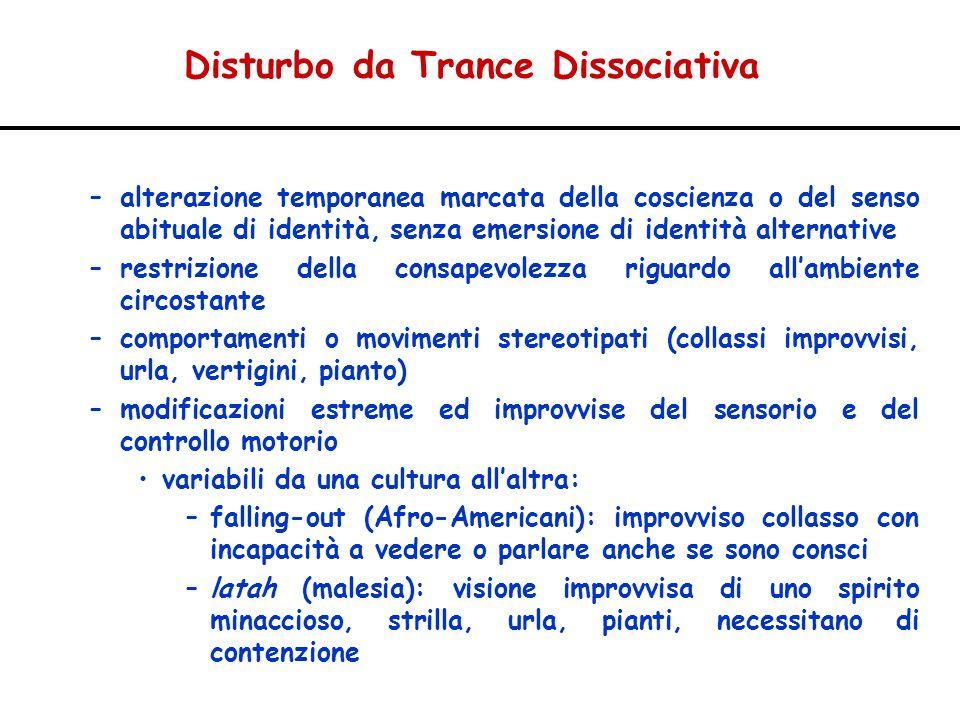 Disturbo da Trance Dissociativa –alterazione temporanea marcata della coscienza o del senso abituale di identità, senza emersione di identità alternat