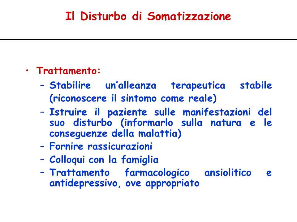 Il Disturbo di Somatizzazione Trattamento: –Stabilire unalleanza terapeutica stabile (riconoscere il sintomo come reale) –Istruire il paziente sulle m