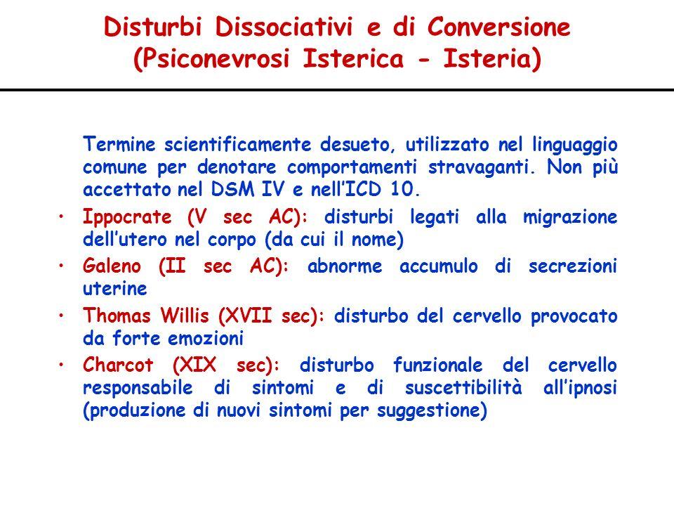 Disturbi Dissociativi e di Conversione (Psiconevrosi Isterica - Isteria) Termine scientificamente desueto, utilizzato nel linguaggio comune per denota