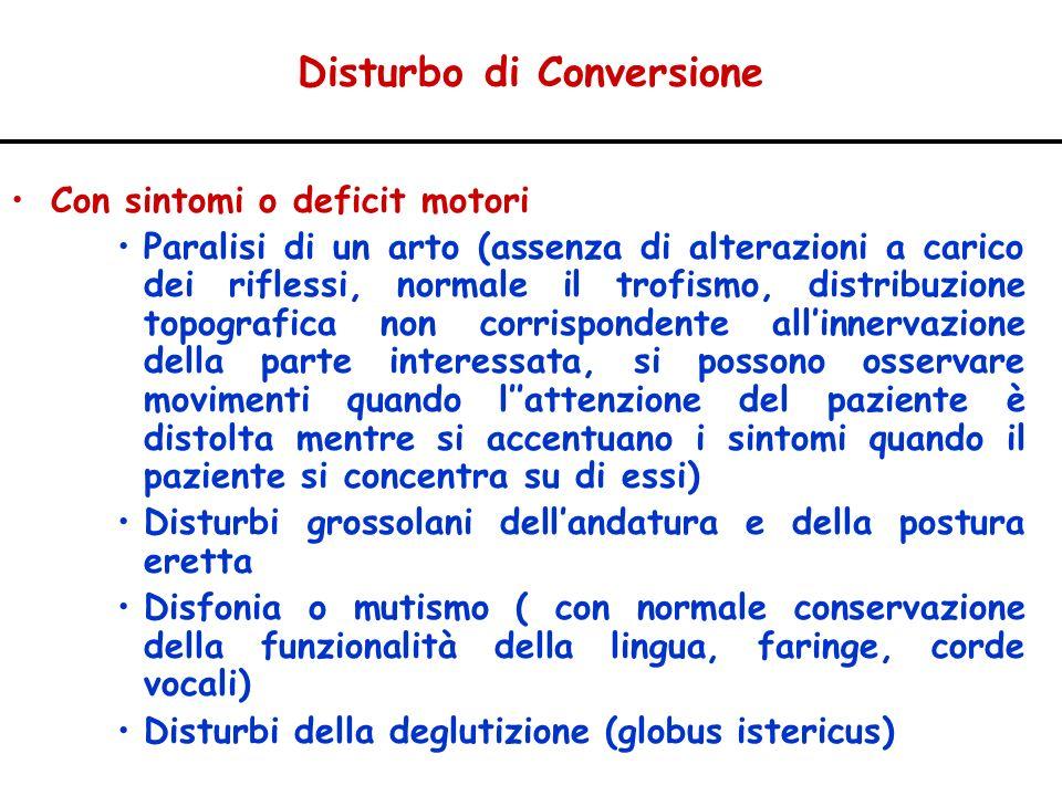Disturbo di Conversione Con sintomi o deficit motori Paralisi di un arto (assenza di alterazioni a carico dei riflessi, normale il trofismo, distribuz
