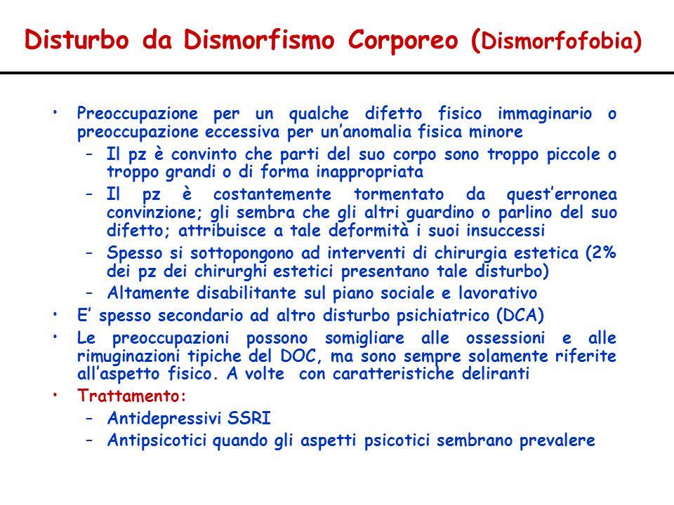 Disturbo da Dismorfismo Corporeo ( Dismorfofobia) Preoccupazione per un qualche difetto fisico immaginario o preoccupazione eccessiva per unanomalia f