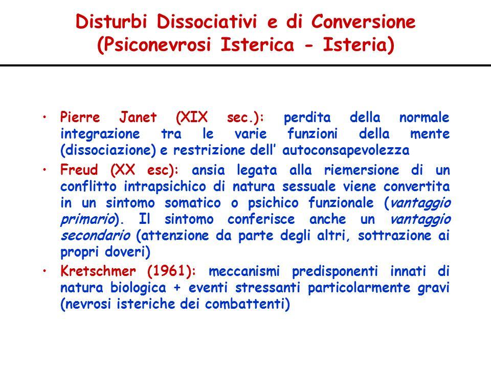 Disturbi Dissociativi e di Conversione (Psiconevrosi Isterica - Isteria) Pierre Janet (XIX sec.): perdita della normale integrazione tra le varie funz