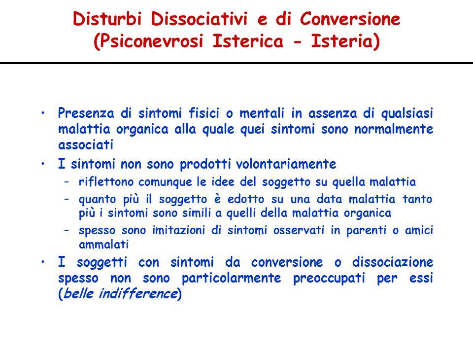 Disturbi Dissociativi e di Conversione (Psiconevrosi Isterica - Isteria) Presenza di sintomi fisici o mentali in assenza di qualsiasi malattia organic