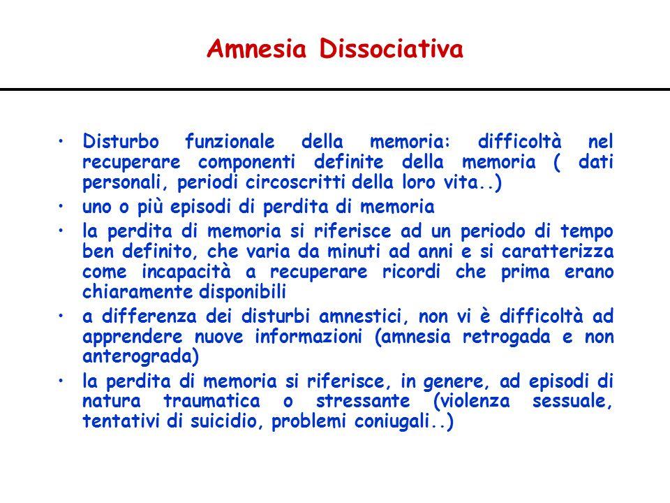 Amnesia Dissociativa Disturbo funzionale della memoria: difficoltà nel recuperare componenti definite della memoria ( dati personali, periodi circoscr