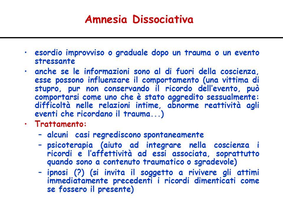 Amnesia Dissociativa esordio improvviso o graduale dopo un trauma o un evento stressante anche se le informazioni sono al di fuori della coscienza, es